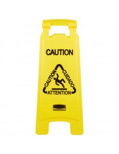 "Rubbermaid Sign Floor Caution 26-1/2"" Bilg Multi Lang"
