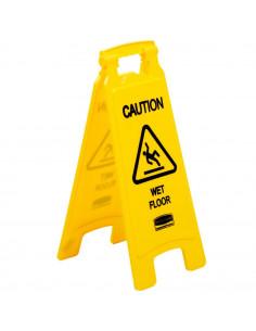 "Rubbermaid 25"" Yellow Double Sided Wet Floor Sign - ""Caution Wet Floor"""