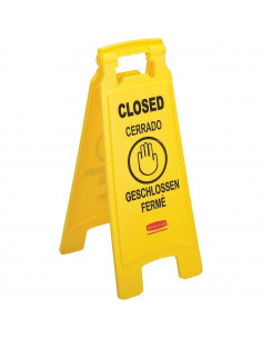 """Rubbermaid 25"""" Yellow Double Sided Multi-Lingual Wet Floor Sign - """"Closed"""""""