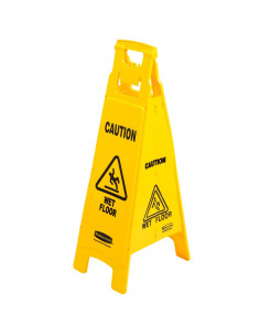 """Rubbermaid Yellow 4-Sided 38"""" Wet Floor Sign"""