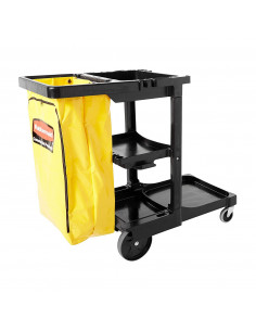 Rubbermaid Shelf Janitor Cart With Vinyl Zippered Bag