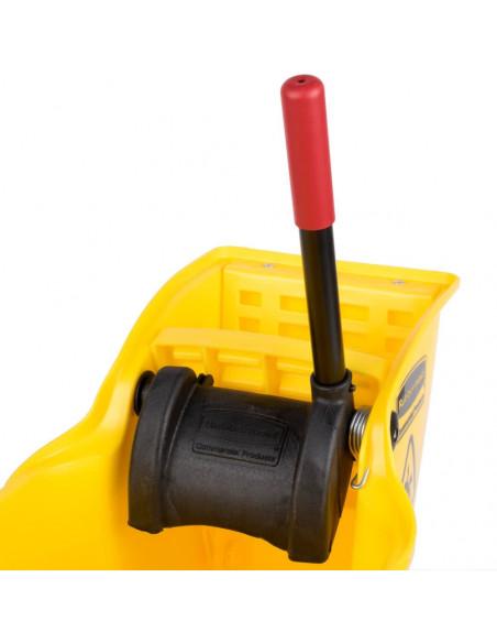 دلو أصفر بمِمْسَحَة وعصَّارة للمِمْسَحَة تعمل بالضغط العكسي من