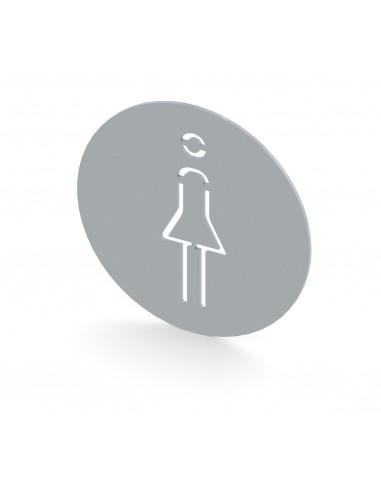 إشارة توضع للدلالة على دورة المياة للنساء - مصنوعة من الفولاذ