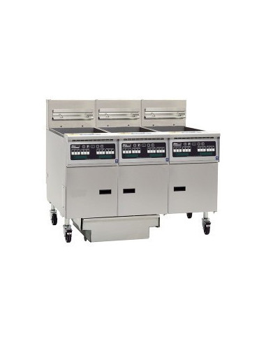 Pitco 3-SE14T-C/FD ELECTRIC 3-Split well fryer With Computer Controls, Built in Filter Drawer