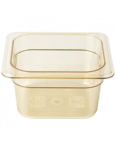 """Cambro 64HP150 H-Pan 1/6 Size Amber High Heat Food Pan - 4"""" Deep"""