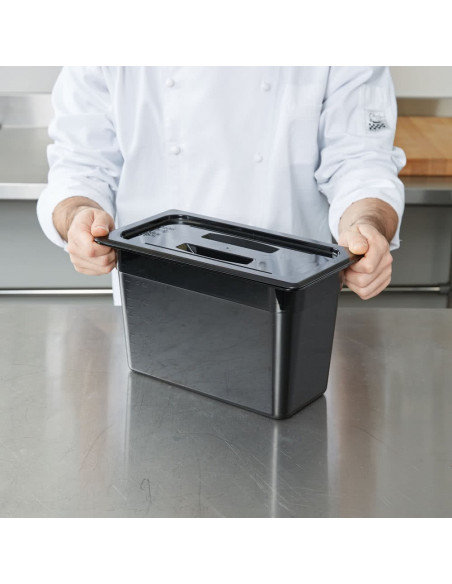 Cambro 30CWCH110 Camwear 1/3 Size Black Polycarbonate Handled Lid